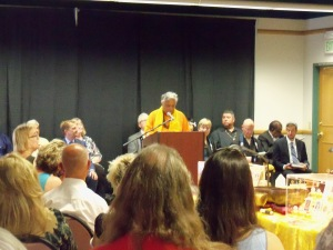 Remarks, prayers from representatives of various faiths (Lutheran chaplain, A and E Bethel minister, Mormon minister, Rabbi, Muslim leader, Native American, and others, MC'd by Rajan Zed, Hindu)