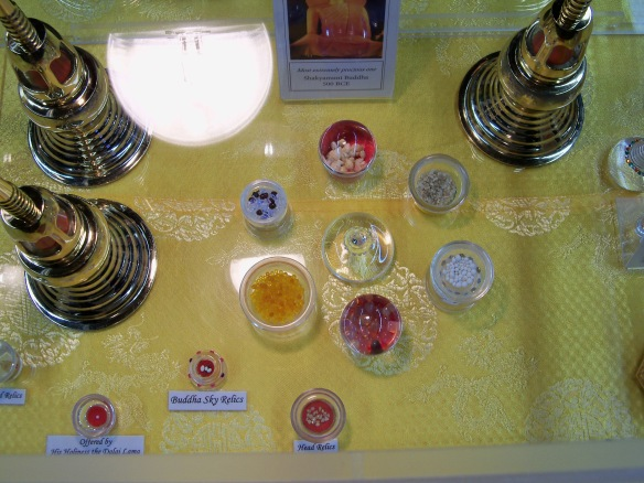 Cremation relics attributed to the Buddha's remains...donated for tour by Dalai Lama